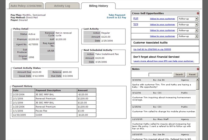Allstate Agency Gateway Portal | Clickable Prototype: Billing History